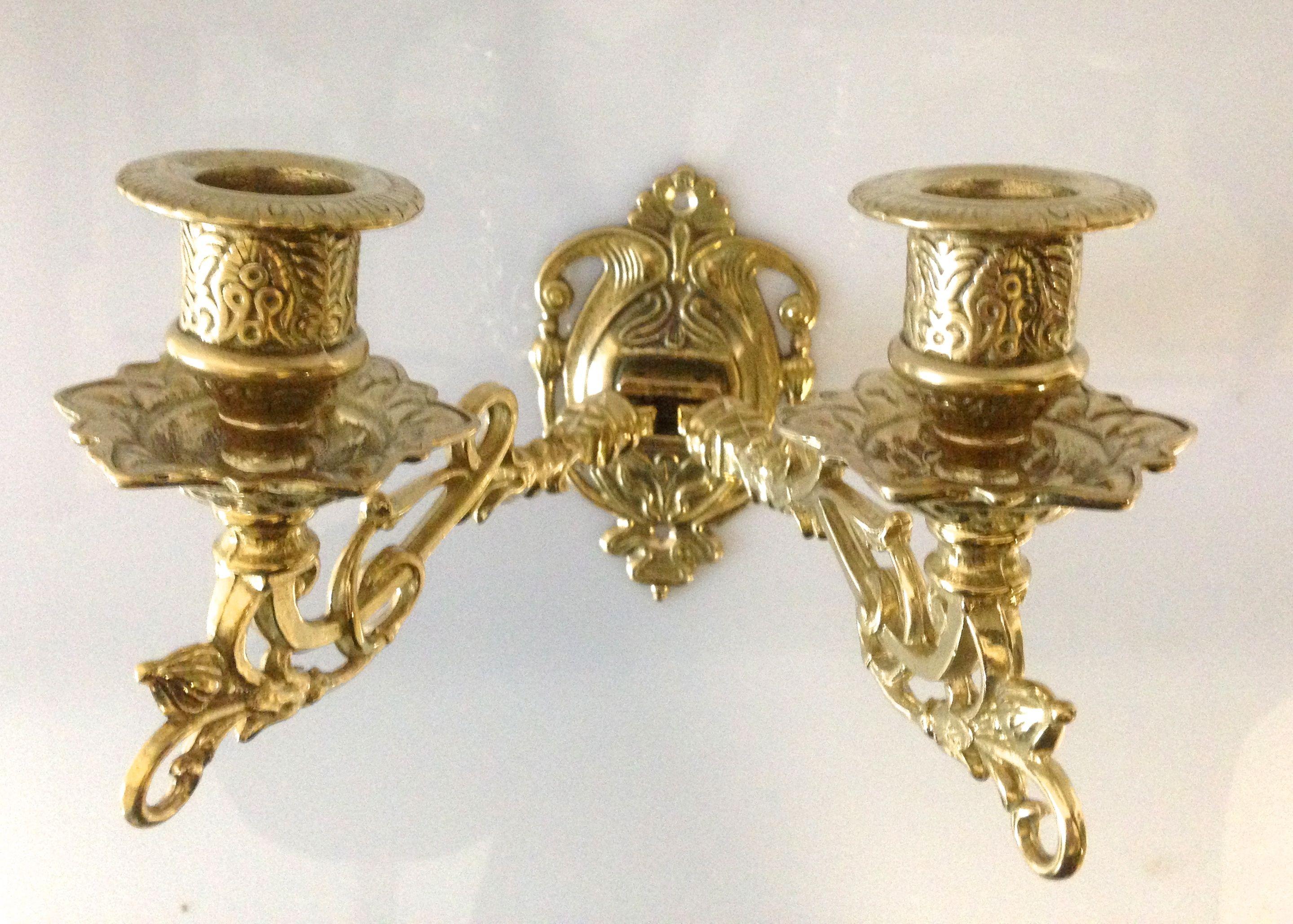 Wandleuchter Wand-Kerzenhalter Klavierleuchter retro Messing matt 5913